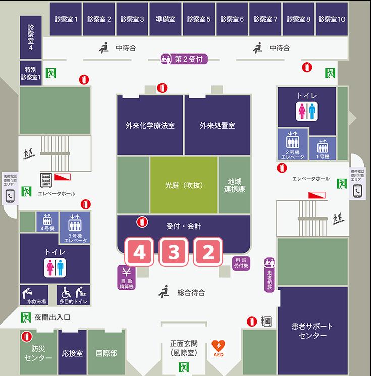 杏雲堂病院 1階フロアマップ
